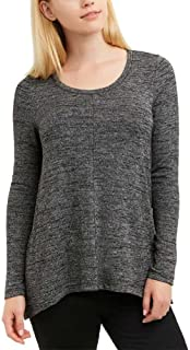 Jones New York Ladies Long Sleeve Knit Top,Black Melange
