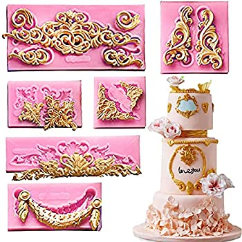 Set Of 6 Baroque Fondant Molds for Cake Decorating Curlicues Scroll Lace Border Candy Silicone Mold for Sugarcraft Cupcake Topper