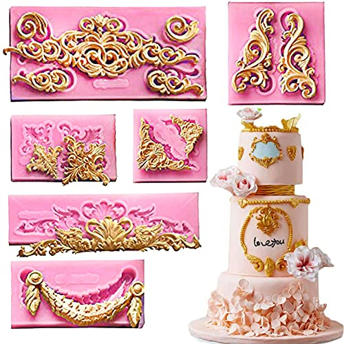 (Set Of 6)Baroque Fondant Molds for Cake Decorating Curlicues Scroll Lace Border Candy Silicone Mold for Sugarcraft, Cupcake Topper
