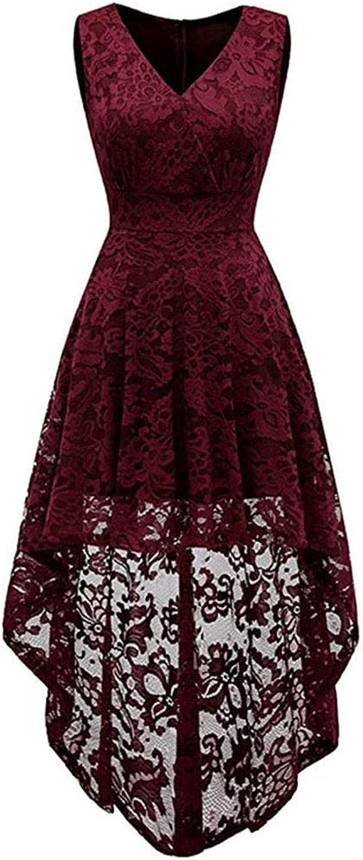 Women's Sleeveless Vneck Lace Dress Irregular Dresses