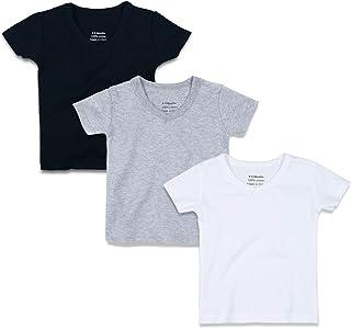 OPAWO Unisex Baby V-Neck Shirts Short Sleeve Tees,Black/White/Gray