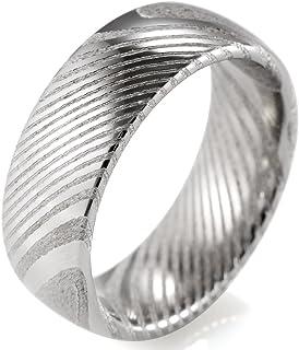 خاتم زفاف SHARDON من الفولاذ الدمشقي مقبب 8 مم للرجال