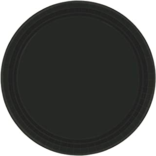 "Amscan Party Supplies, Round Paper Plates, Tableware, 9"", Jet Black, 20ct"