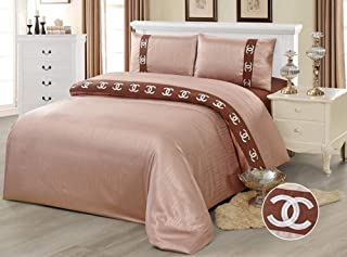 Devonshire Collection SILK/600 TC Cotton 4PCs Bedding Comforter Cover Set. 1 x Zipper Quilt Duvet Cover, 1 x Fitted Sheet, 2 x Pillow Case. European Design Art No:JE11 (Queen)