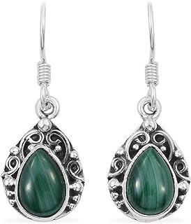 Pendientes colgantes, pendientes colgantes, pendientes de plata de ley 925 para mujeres, pendientes de pera malaquita Sterling Silver Drop Earrings