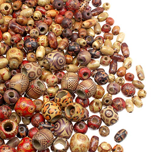Fun-Weevz 500 PCS Wooden Beads for Jewelry Making Adults, Painted Assorted African Beads, Macrame Supplies Beads, Craft Jewelry Wood Beads for Bracelets & Necklace, Large & Small Round Barrel Tubular