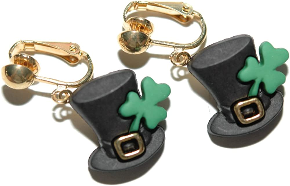 Ranking TOP5 St Patrick's Day Opening large release sale Top Hat with On Dangle Clip Shamrock Earrings