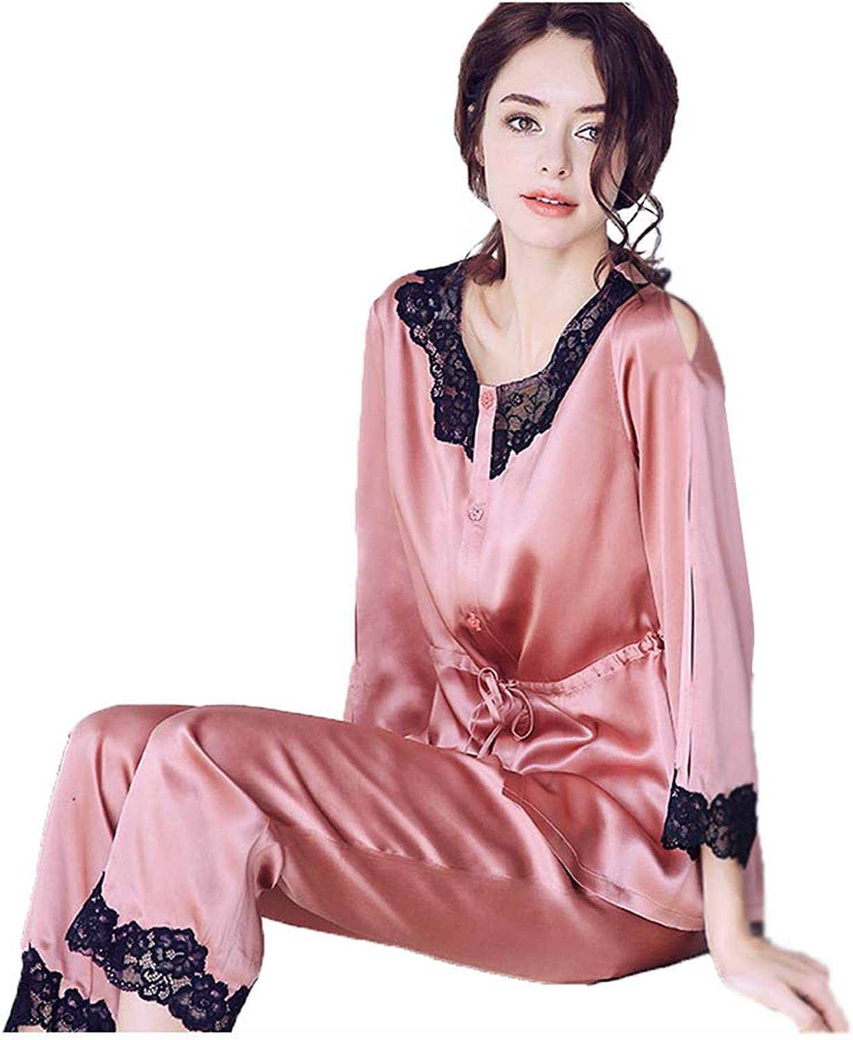 Women's Pajamas Women's Cardigan Casual Wear Women Long Sleeve Pants Set Silk Fashion Home Service (color   Pink, Size   L)
