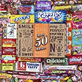 VINTAGE CANDY CO. 50TH BIRTHDAY RETRO CANDY GIFT BOX - 1971 Decade Nostalgic Childhood Candies - Fun Gag Gift Basket For Milestone FIFTIETH Birthday - PERFECT For Man Or Woman Turning 50 Years Old