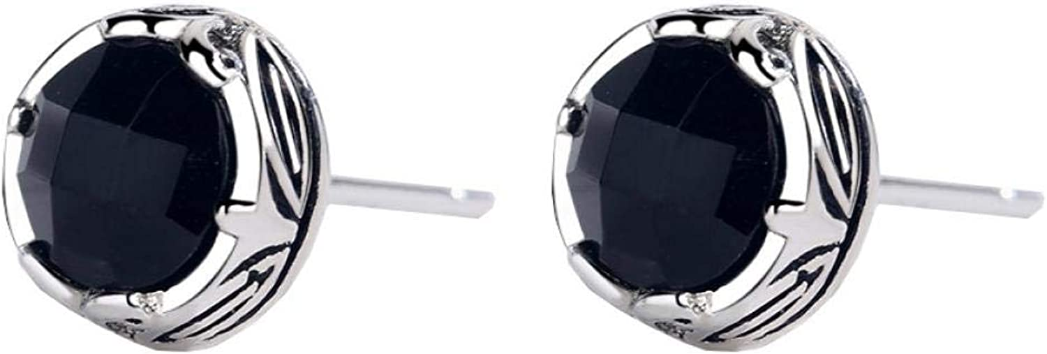Stud Earrings Black ChalcedonyS925Sterling Earring Silver Manufacturer direct delivery In a popularity