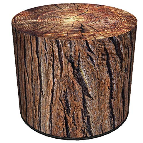 KADAX Sitzpuff, Pouf, runder Sitzhocker, Puff, Ø 40 x 40 cm, Holzoptik, Sitzpouf mit waschbarem Bezug, Sitzsack, Bodenkissen, Deko-Hocker, Fußhocker, Sitzkissen, Stoffhocker (Akazie)