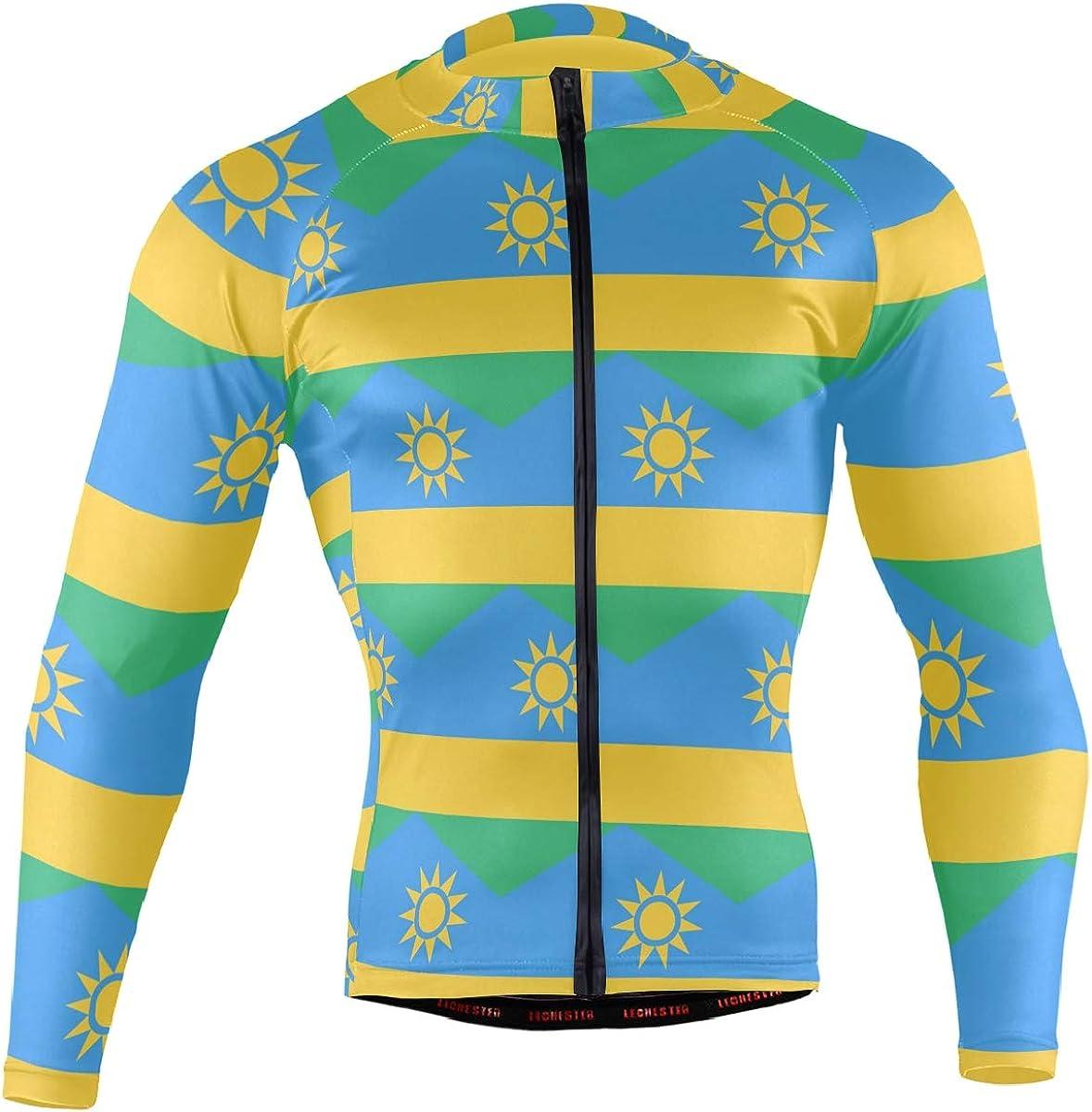 Rwanda Flag Men's Bombing free shipping Long Sleeve Popular Pock Jersey Cycling Jacket Bicycle