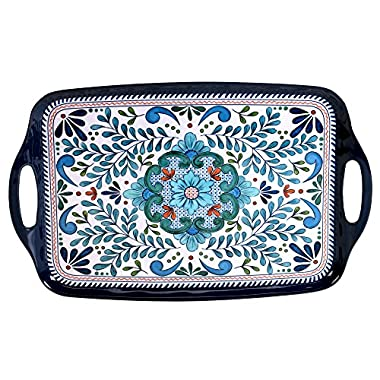 Certified International Talavera Melamine 19  x 12  Rectangular Tray with Handles, Multicolor