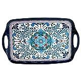 Certified International Talavera Melamine 19' x 12' Rectangular Tray with Handles, Multicolor