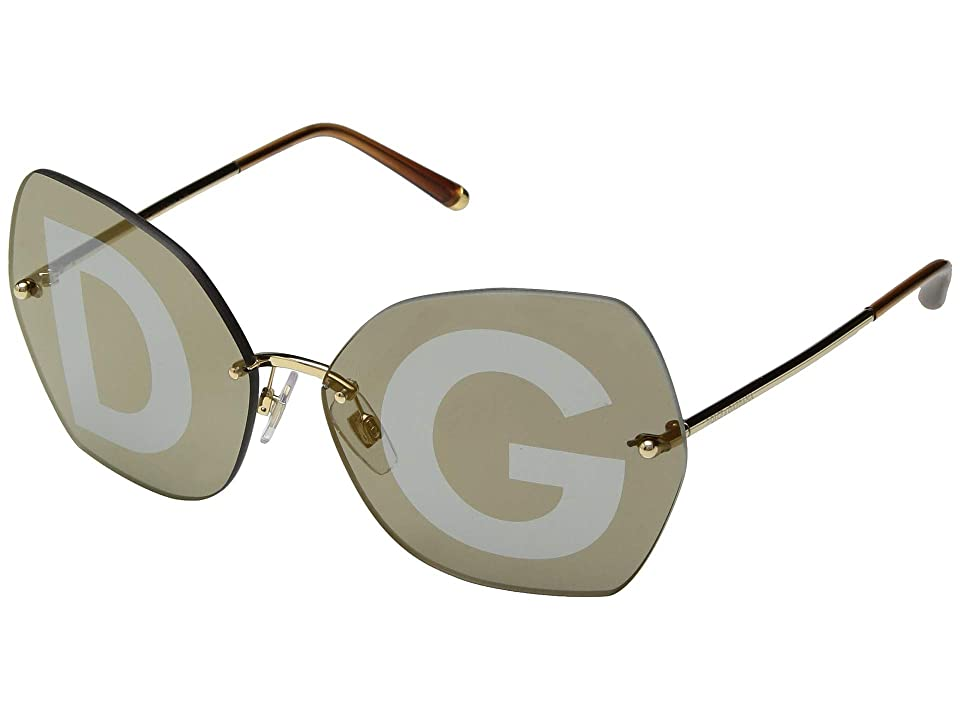 Dolce & Gabbana DG2204 (Gold/Grey Tampo D&G Silver/Gold) Fashion Sunglasses