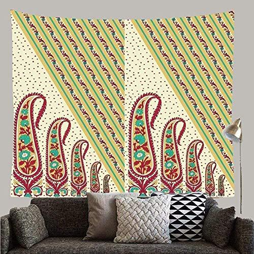 Yhjdcc Fashion Colorful Beautiful Motif Indiano Paisley Pattern Astratto Verde Bellezza Bordo Colore Damascato Personalizzato Arazzo Da Parete Decorazione Arte 150cmx200cm