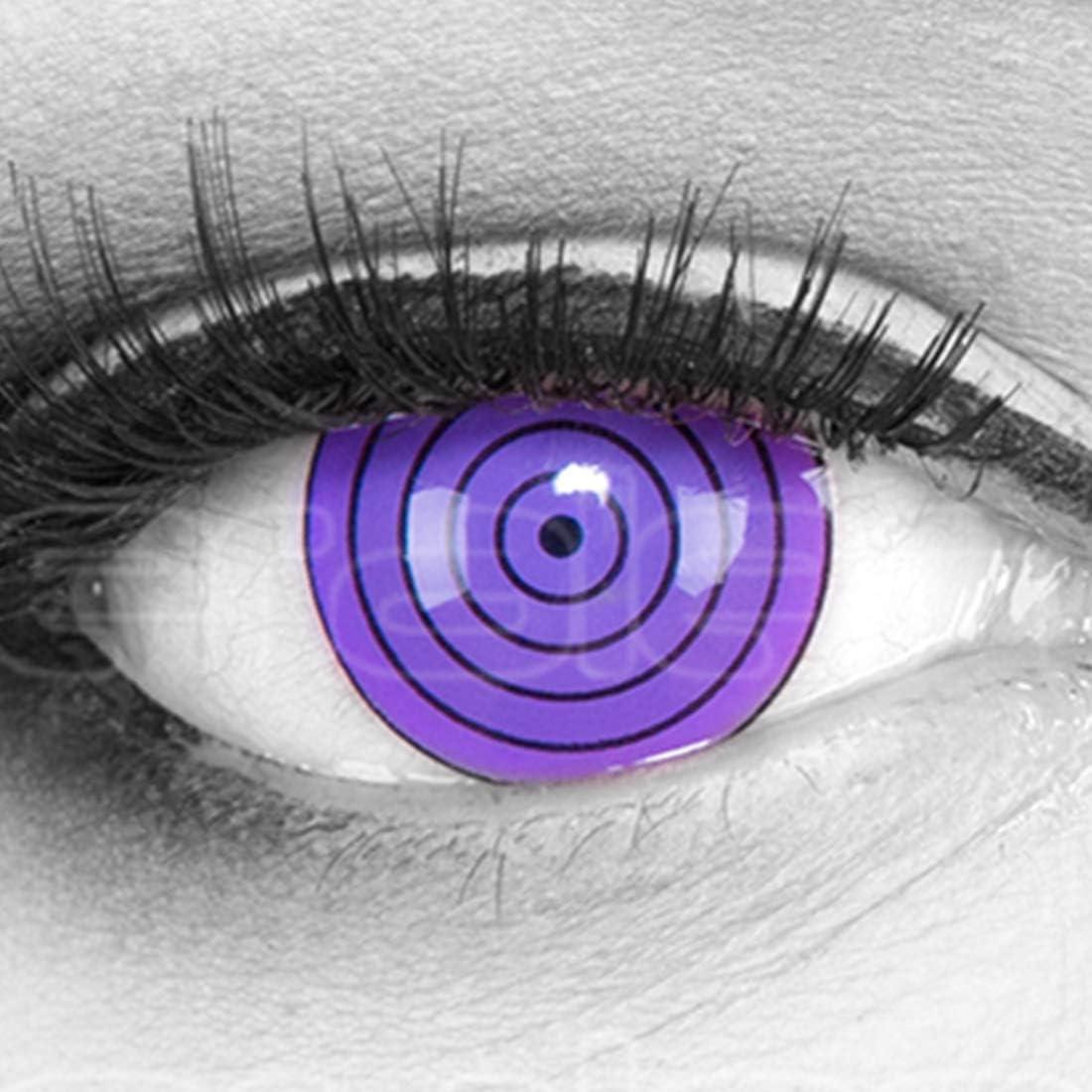 Lentillas de color violeta Violet Rinnegan 17mm 1 par. Para Halloween Carnaval, cosplay de anime, gratis estuche de lentillas sin graduación