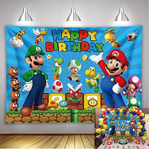 LXN Super Mario telón de fondo Super Mario Bros Fotografía Fondo Mario Videojuegos Tema Fiesta de Cumpleaños Niños Feliz Fiesta de Cumpleaños Pastel Decoración de Mesa Fondo 7x5ft