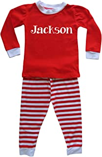 Personalized Custom Holiday Christmas Red & White Striped Pajamas for Babies, Toddlers, Big Kids