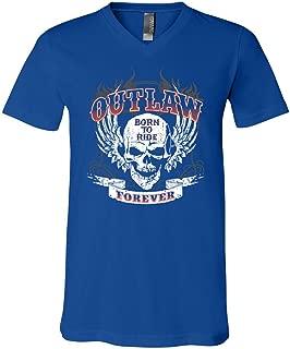 Outlaw Forever V-Neck Tee Born to Ride MC Chopper Bobber Tee