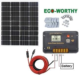 ECO-WORTHY 100W 太陽光発電 新しい単結晶ソーラーパネル +20Aチャージコントローラー +10mケーブル(プラス5m+マイナス5m) + Z 取付金具
