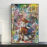 KWzEQ Imprimir en Lienzo Amor para niños Doodle Art Wall Art Imagen Decorativa decoración del hogar Sala de Estar sofá decoración de la pared50x75cmPintura sin Marco