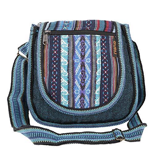Guru-Shop Ethno Schultertasche, Boho Tasche - Petrol, Herren/Damen, Blau, Baumwolle, Size:One Size, 26x26x7 cm, Alternative Umhängetasche, Handtasche aus Stoff