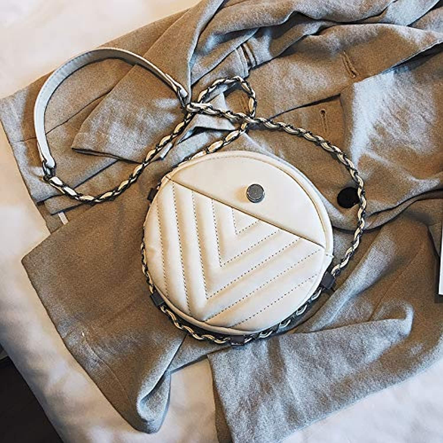 WANGZHAO Women's Bags, Single Bag, Satchel, Round, and Simple Fashion Rhombus Chain.