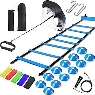 تجهیزات آموزش سرعت نردبان Kevirice ، شامل 12 نردبان چابکی پله ای ، چتر نجات در حال اجرا ، طناب پرشی ، باندهای مقاومت ، میله های مقاومت برای ورزشکاران ، بسکتبال ، هاکی آموزش می دهد.
