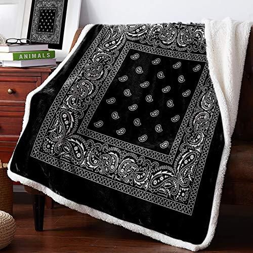 3D Throw Blanket Bandana Pattern Silk Scarf Square Pañuelo Fleece Mantas Ropa de Cama, 150x200CM