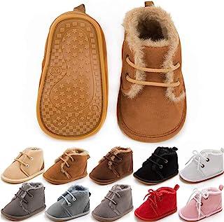 Meckior Baby Booties Newborn Infant Unisex Baby Girls Boys Velvet Rubber Anit-Slip Sole Shoes Toddler Fleece Cozy Winter Warm Prewalker Boots