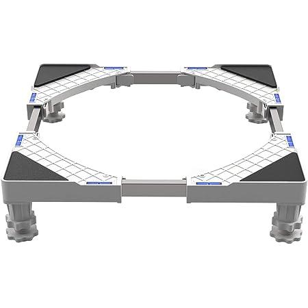DEWEL Support de Machine à Laver Base pour Frigo Lave-linge Sèche-linge Réglable en Longueur 50cm-66cm Support Charge 300 kg avec l'Effet de Réduiction du Bruit