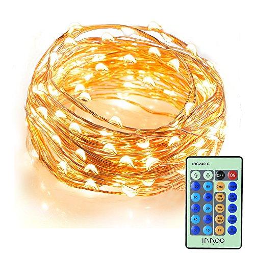 Innoo Tech Wasserdichte LED Lichterkette10M 100er LED Kupferdraht Lichterketten mit Fernbedienung, Warmweiß, für Garten, Schlafzimmer