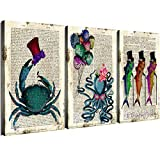 Ocean Animal Theme Bathroom Wall Decor Canvas Prints Sea Life Teal Mr Crab Hat Salute Miss Octopus Wearing Pink Sunglasses Monster Balloons Marine Fish Walking Stick Pictures Set 3 Panels 12 x 16'