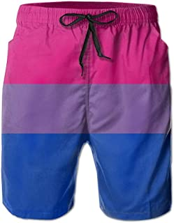 QQMIMIG Bisexual Pride Flag Men's Polyester Beachwear Board Shorts Quick Dry