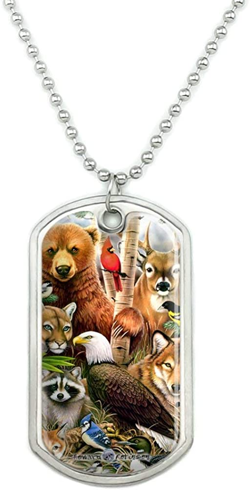 GRAPHICS & MORE Bear Eagle Cougar Wolf Racoon Deer Animals Military Dog Tag Pendant Necklace with Chain