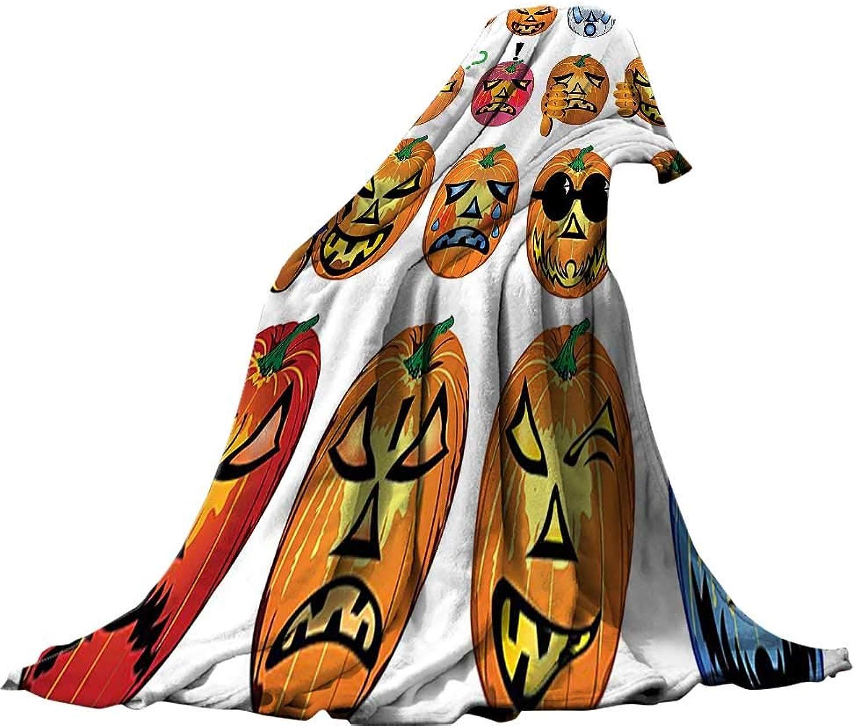 Soft Travel Blanket(70 x60 ) Throw Size for Kids Boys Women Men All SeasonHalloween Decorations Carved Pumpkin with Emoji Faces Halloween Humor Hipster Monsters Harvest Graphic Art orange.