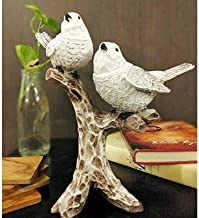 Agarwal Trading Corporation Resin Cute Love Birds Sitting on Tree Branch Fancy Showpiece for Home Decor, Fang sue, Positiv...