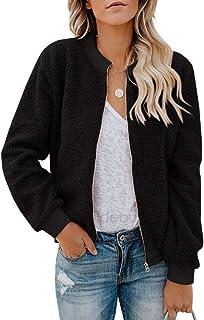 Eurivicy Women Fleece Jacket Winter Bomber Long Sleeve Faux Sherpa Fuzzy Casual Zip Up Coat Pocket