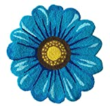 MeMoreCool Handmade Sunflower Area Rugs Bedroom/Living Room/Bathroom/Kitchen Home Decor Carpet Washable Non-Slip Mat Indoor and Outdoor Welcome Rug Blue 26 x 26 Inches