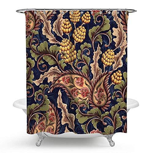 KISY Ethnischer Boho Paisley Floral Stoff Duschvorhang Mandala Bohemian Blumen Badezimmer Dekor beschwert Duschvorhang für Badewanne Duschen, 183 x 183 cm, Vintage