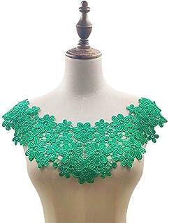 11 Couleurs Tissu en Dentelle Encolure brodée DIY Flow Robes Robes COLLIQUE DE Couple DE Couple DE Tissu (Color : Green)