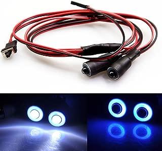 MOHERO 2 LEDs Angel Eyes & Demon Eyes LED Light Headlights for 1/10 RC Model Crawler Cars Headlamps (Blue+White, 10mm)