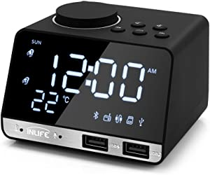 naozhong Inlife K11 Bluetooth 4.2 Radio Alarm Clock Haut-Parleur avec 2 Ports USB LED Digital Alarm Clock Home Decration Snooze Table Clock Bouchon de l'UE