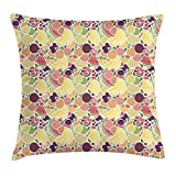JIMSTRES Watermelon Throw Pillow Cushion Cover, Grocery Themed Fruit Pattern with Bananas Strawberries Plums and Pomegranates, Decorative Square Accent Pillow Case, Multicolor 22x22 inches
