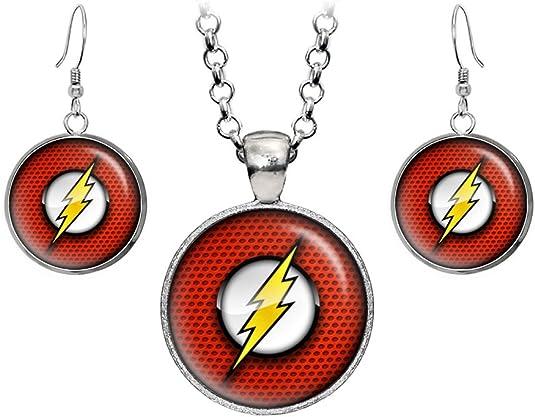 Details about  /Yellow Diamond The Flash Pendant Earrings Set Superhero Pendant Set Gift For Her