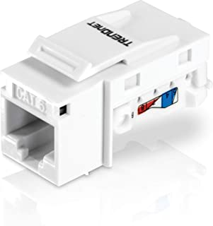 TRENDnet Cat6 Keystone Jack – 50-Pack, 90° Angle Termination, Color-Coded Labeling for T568B Wiring, TC-K50C6