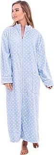 Women's Zip Up Fleece Robe, Warm Loose Sherpa Bathrobe