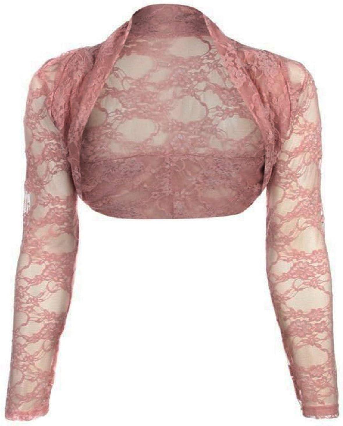 maf Womens Long Sleeve Lace Floral Ladies Cropped Short Shrug Bolero Cardigan Top 6-20 Peach