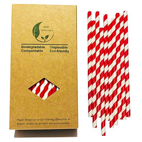 Rojo Pajitas Papel --- Caja de papel reciclable de 100 pajitas de papel de rayas rojas para decoración de fiestas
